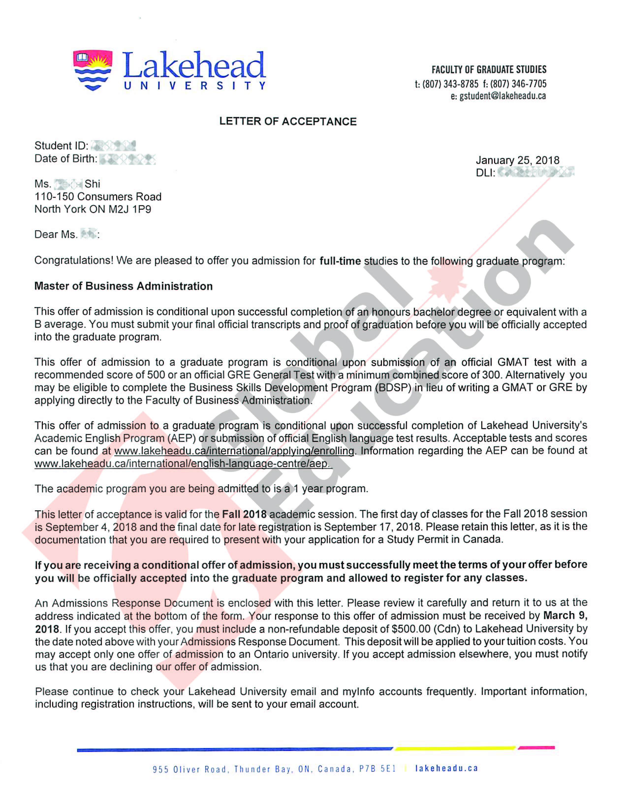 水印lakehead shi peijie Lakehead MBA offer